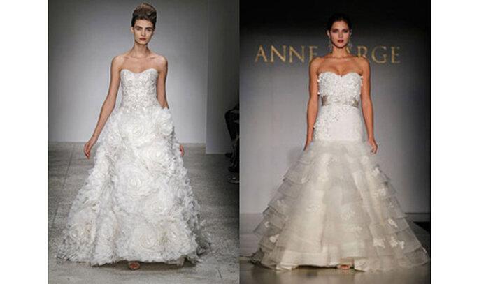 Tripudio di rose in 3D sull'ampia gonna a strascico per l'abito da sposa a sinistra; grappoli di glicine sul corpetto per l'immagine a destra. Foto: bodasblog.com