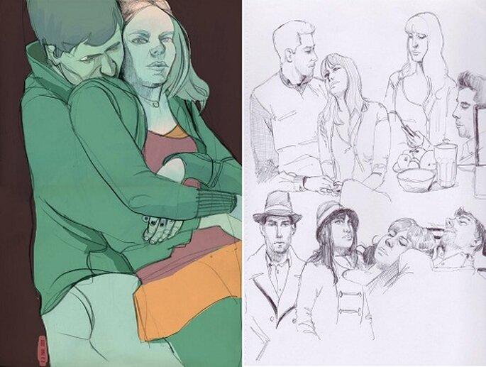 Con color o sin él, los dibujos captan los momentos más tiernos. Fotos: Dibujos a Domicilio.