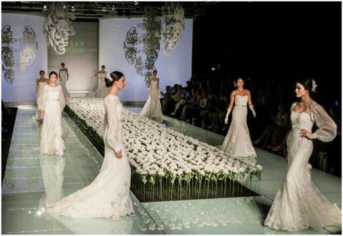 Il total white sposa con Lusan Mandongus la sperimentazione delle forme