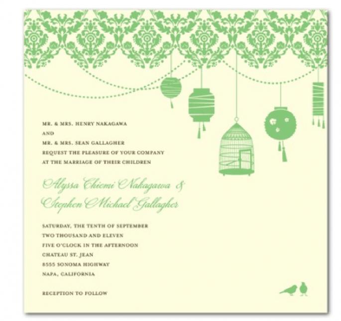 Invitación con divertidas ilustraciones en color verde esmeralda - Foto Wedding Paper Divas