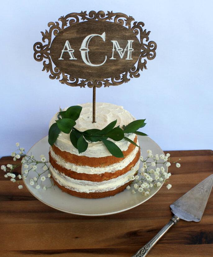 Cake Topper estilo rústico - Foto Etsy