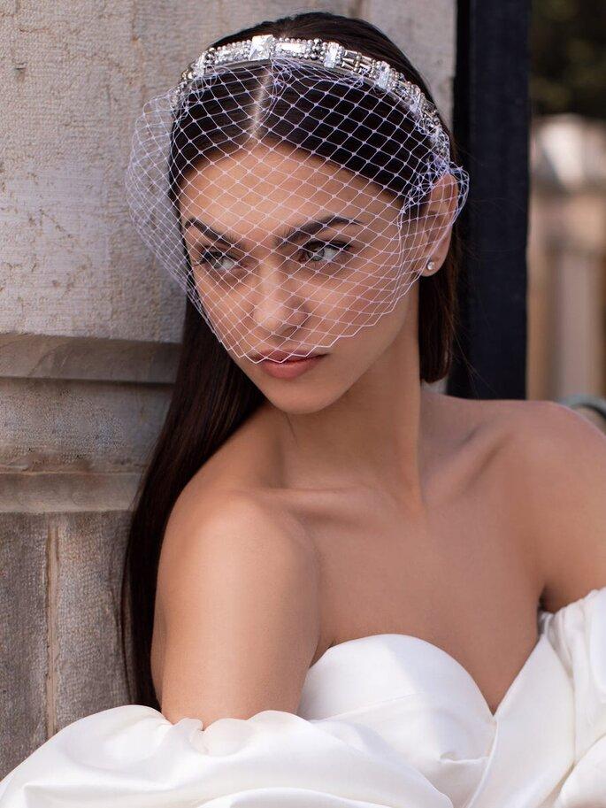 Velo de novia estilo francés, tocado de novia con velo