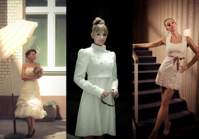 Beispiele kurzes Brautkleider von Anne Wolf, in der Mitte: passender Braut-Mantel