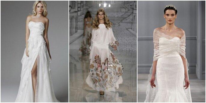 Da sinistra, modelli di Blumarine, Gucci e Monique L