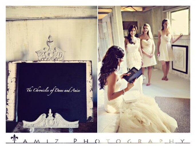 El peinado de la novia estuvo caracterizado por suaves ondas y un tocado retro - Foto Tamiz Photography
