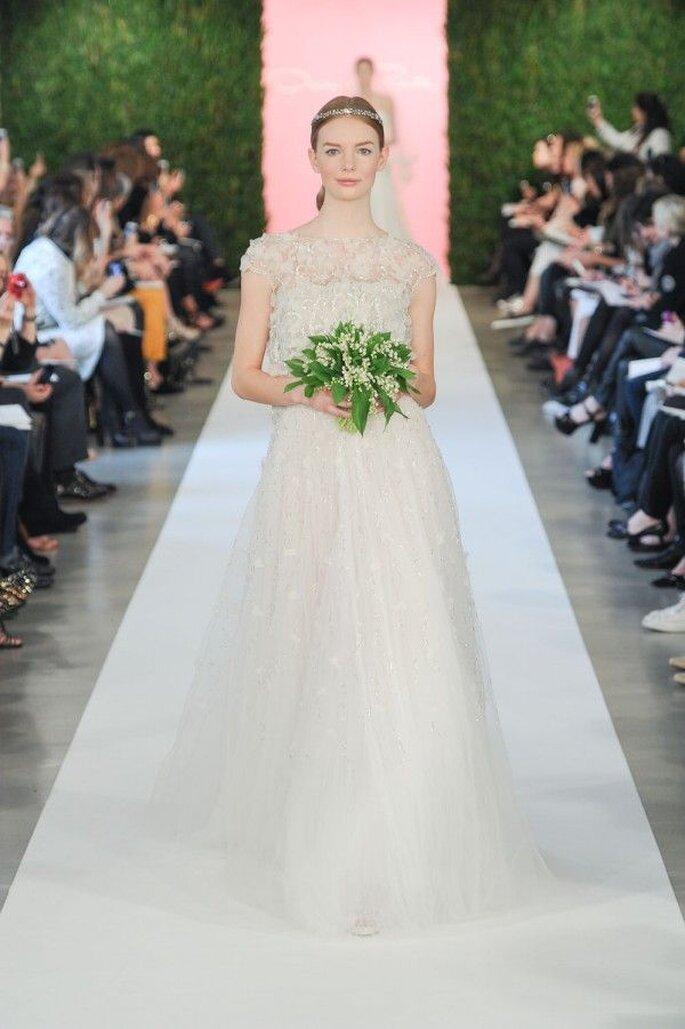 Vestidos de novia 2015 con mangas cortas - Oscar de la Renta