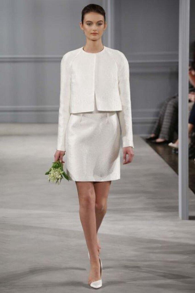 Vestido de novia corto con chaqueta de Monique Lhuillier - Colección primavera 2014