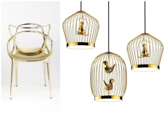 A sinistra, Precious Kartell di Philippe Starck e Eugeni Quitllet. Foto via salone.kartell.it - A destra, Twee T. di Jake Phipps e Bosa per Casamania. Foto via casamania.it
