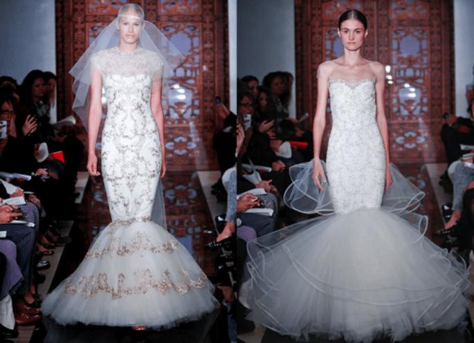 Vestidos de novia otoño 2013 corte sirena con brocados y pedrería - Foto Reem Acra