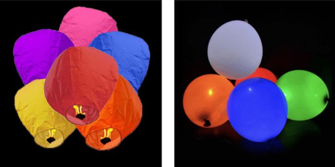 Lanternes volantes multicolores 10 pièces et Ballons à LED colorés 5 pièces