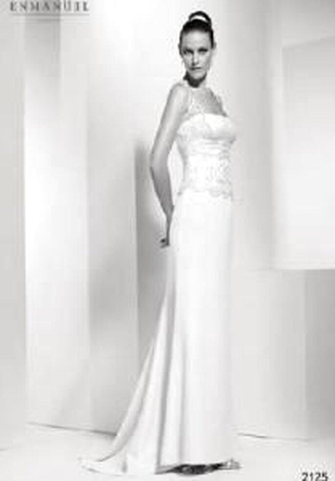 Enmanel Couture 2009 - Vestido con top de encaje y pechera drapeada