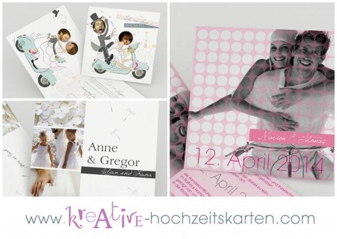 Kreative Hochzeitskarten - Überraschen Sie Ihre Gäste mit tollen Einladungen. Fotos: kreative-hochzeitskarten.com