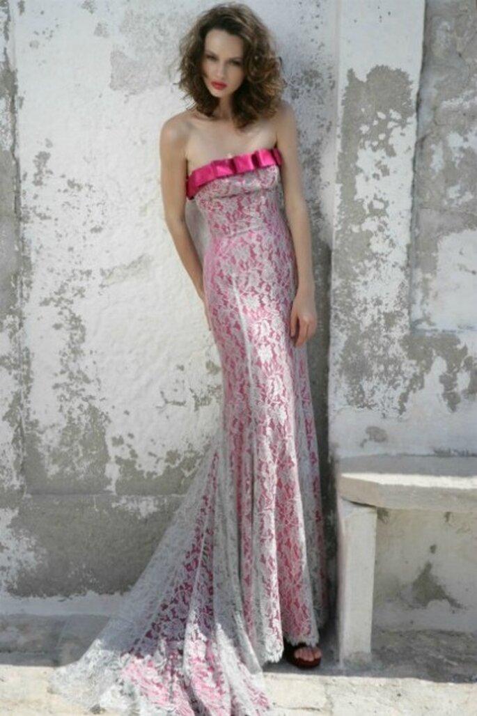 Vestido de novia 2012, rosado con encaje y strapless