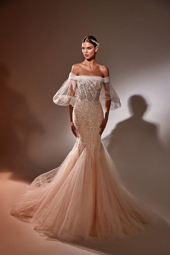 Vestido de novia corte sirena de color