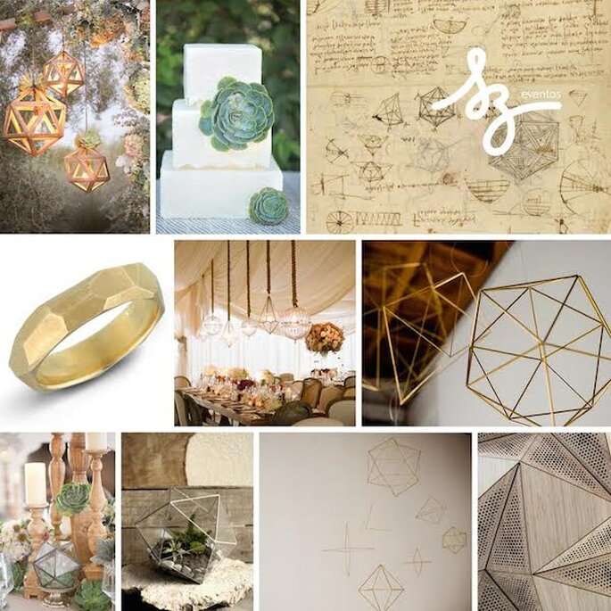 Lo mejor de la geometría en tu boda - Foto Amy and Jordan, Abby Weeden Photography, Elizabeth Messina, Dusrin and Corynn Photography, Etsy