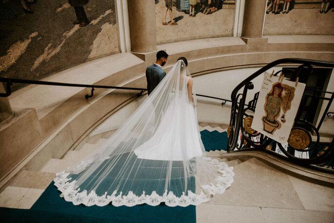 Voile de mariée très long