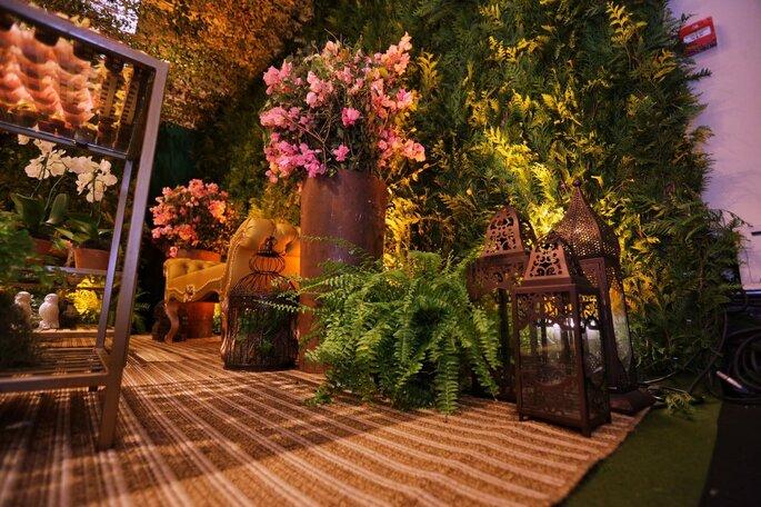 Jardim na decoração do casamento