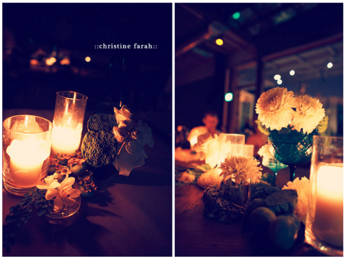 Decoración de boda con velas - Foto Christine Farah