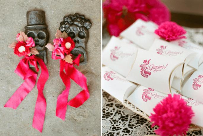 Adornos y detalles de agradecimiento en color rosa intenso - Foto Aaron Delesie