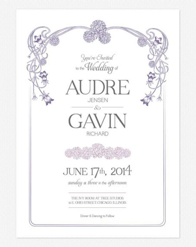 Invitación de boda en color violeta. Foto: Love vs. Design