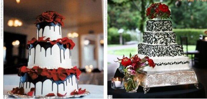 Pièces montées ornées de roses rouges - Gothic.weddings.com
