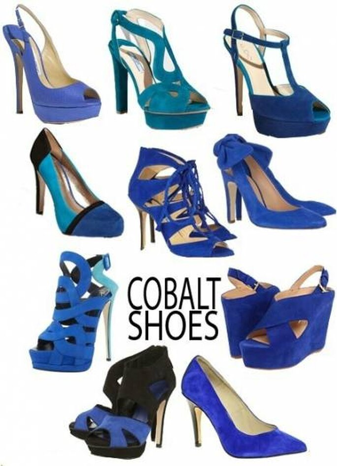 Ideas para los zapatos de la novia y de las invitadas en azul. Foto: stileggendo.com