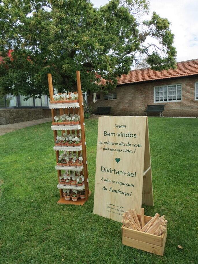 Placard de boas vindas na Quinta do Amorinho