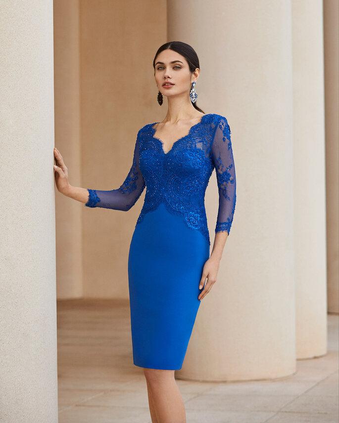 vestido boda corto azul