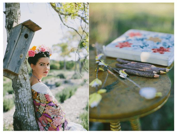 Look de novia inspirado en Frida Kahlo - Foto Amber Vickery Photography