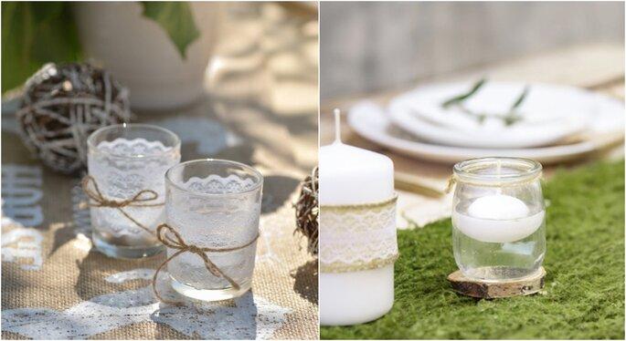 Velas para decoración rústica de boda