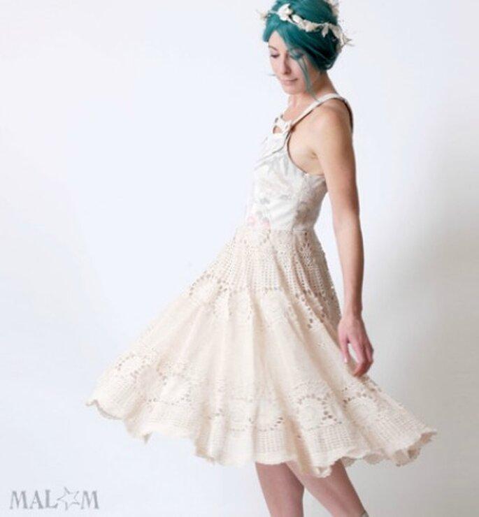 Robe de mariée Cendrillon blanche et imprimé oiseaux - Malam