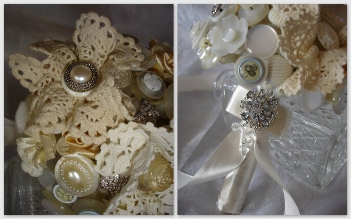 Perline, botoni bianchi e di amdreperla, qualche inserto all'uncinetto