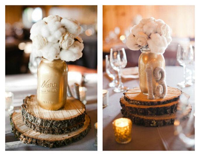 Centro de mesa para boda en invierno. Foto de  Pictilio.