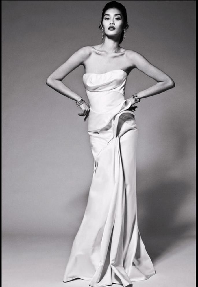 Vestido de novia en tendencia para Pre Fall con detalles tridimensionales - Foto Zac Posen