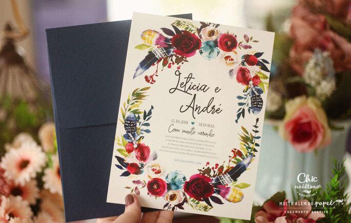 Convite para casamento boho