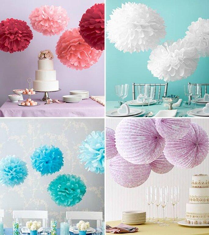 I pom pom di carta sono perfetti da appendere per rendere originale la vostra location di nozze! Foto 100matrimoni.it