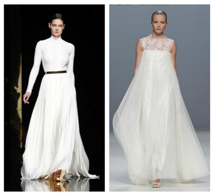 Robes de mariée urbaines. Photo à gauche, Rosa Clará; à droite,