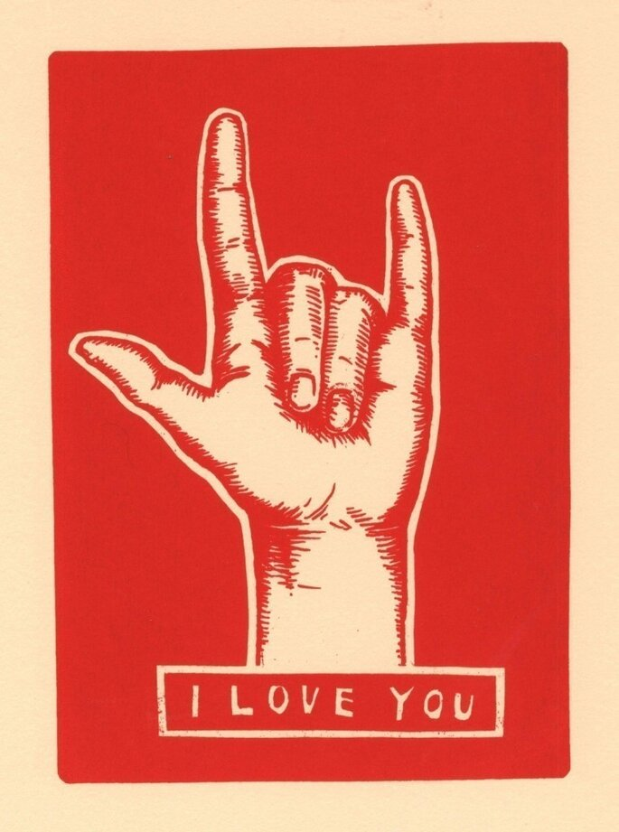 I Love You sign language print from Etsy seller TwoSarahs