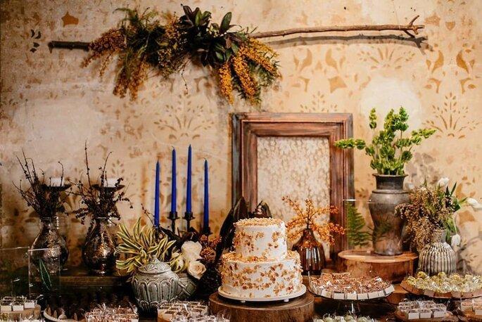 Decoração com folhagens para casamento