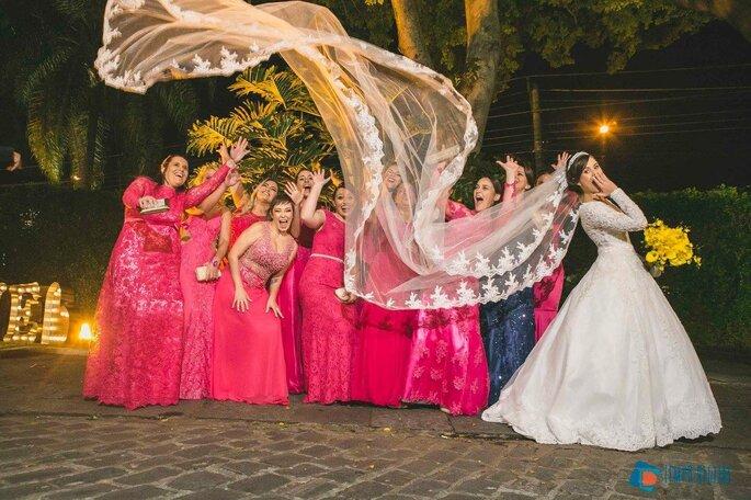 Ensaio da noiva com as madrinhas