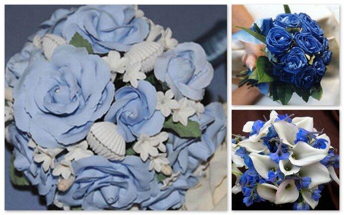 Tre bouquet con fiori blu, con tonalitá piú accesa o in azzurro mescolato con bianco