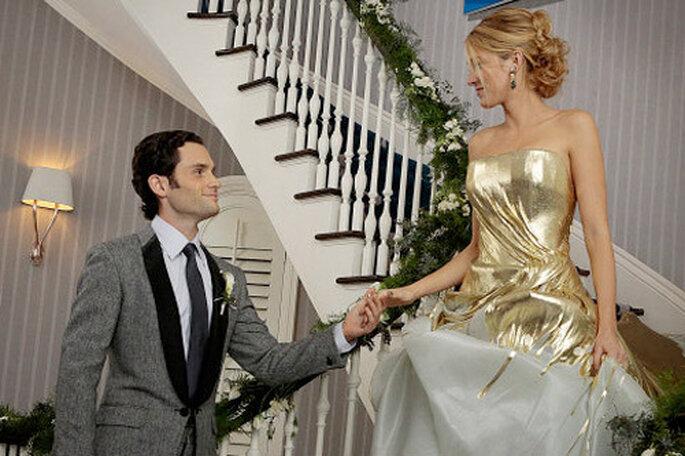 La robe de mariée de Serena van der Woodsen, couleur or