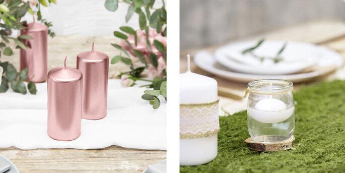 Vela cilíndrica decorativa oro y rosa