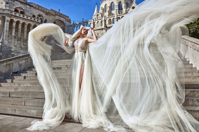 Image: Galia Lahav Ivory Tower Haute Couture Collection, dress 1609 Flavia + 1612 Elise Cape