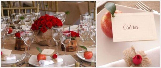 Decoración con frutas y detalles naturales. Fotos: Eugenia Ramos Eventos