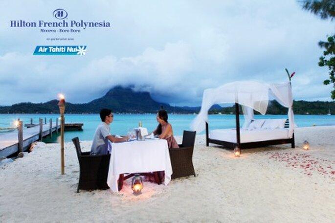 Voyage de noces à l'hôtel Hilton en Polynésie...