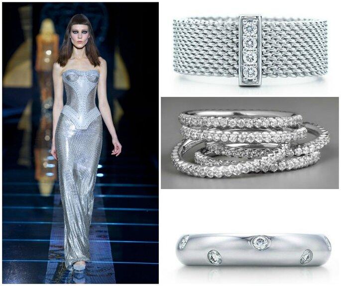 Abiti,scarpe e accessori nel colore più di tendenza dell'anno:l'argento! Abito: Versace AI 2012-13, bracciale con diamanti Tiffany & Co, serie di bracciali tennis con diamanti Roberto Coin, fede in argento con serie di diamanti incastonati Tiffany & Co.