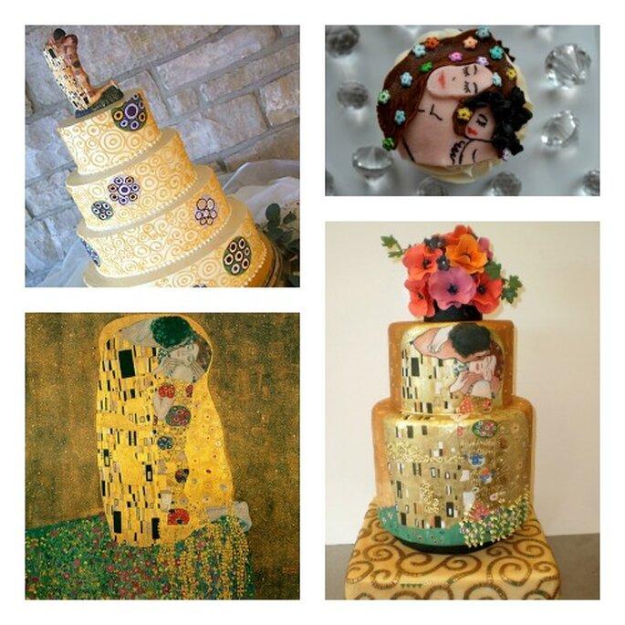 """""""Il bacio"""" di Gustav Klimt riprodotto su Wedding Cakes e Cupcakes"""