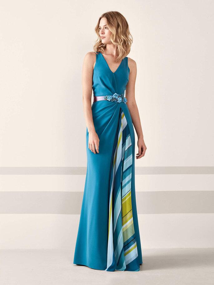 vestidos de fiesta azul con estampado latela