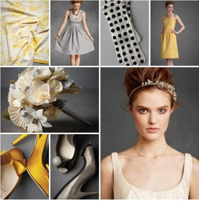 Accessoires jaunes pour la mariée. - Photo : BHLDN